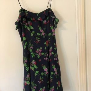 Mini lace up silk navy floral dress